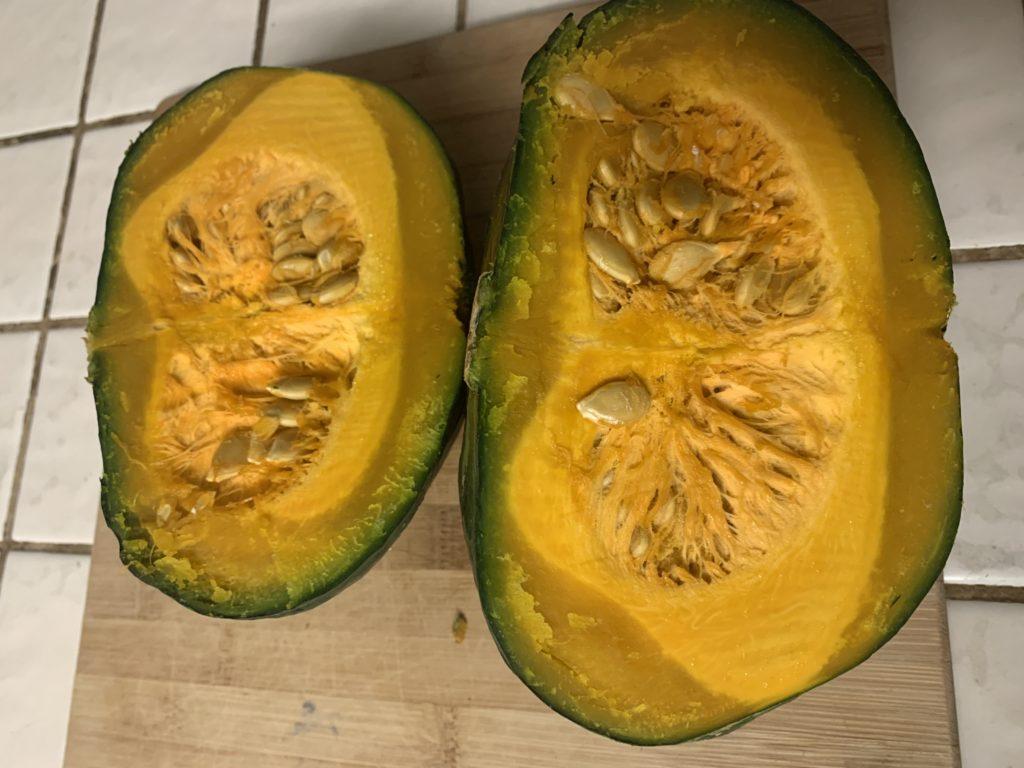 Kabocha squash cut in half.