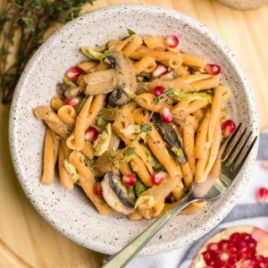 Mushroom & Garlic Pasta w/ Brussels Sprouts