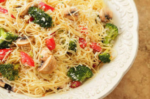 Pasta with Broccolini, Mushrooms, Tomatoes and Parmesan Cheese