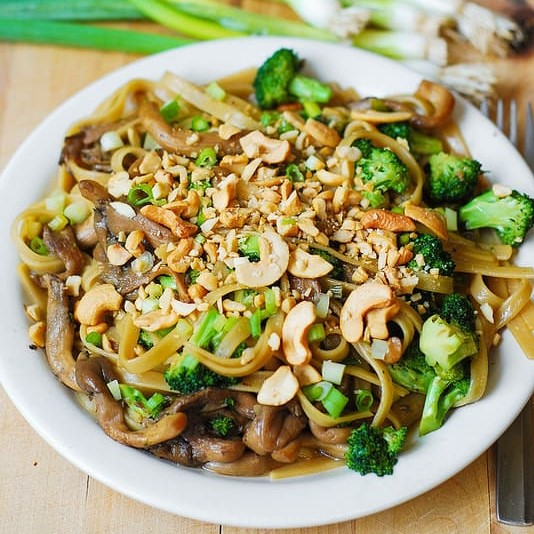 Asian Pasta with Broccolini & Mushrooms