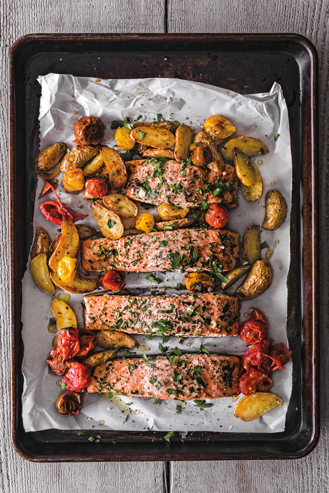 Salmon Roasted with Potatoes & Tomatoes
